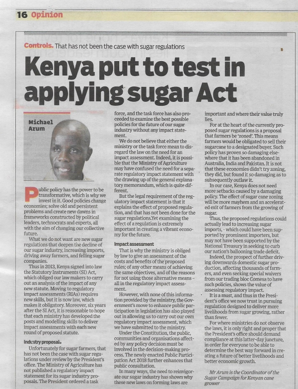 Kenya put to test in applying sugar act